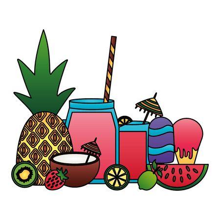 Sommerzeit Urlaub Ananas Kokos Nymphensittich Eis am Stiel Limette Vektor-Illustration Vektorgrafik