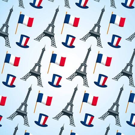 eiffel tower hat and flags background france happy bastille day vector illustration
