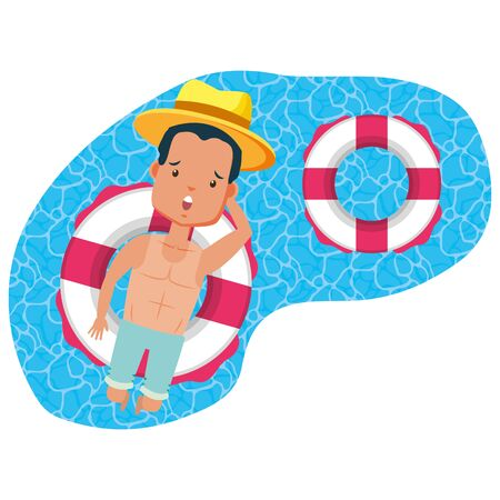summer time holiday man with hat floating in the lifebuoy pool vector illustration  イラスト・ベクター素材