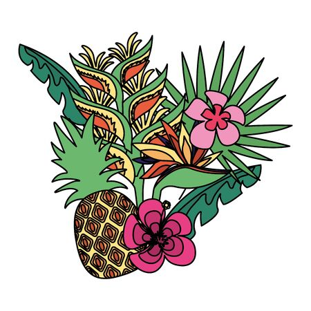 pineapple flowers tropical fruits foliage exotic vector illustration