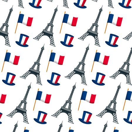 eiffel tower flag hat background happy bastille day flat design vector illustration 일러스트