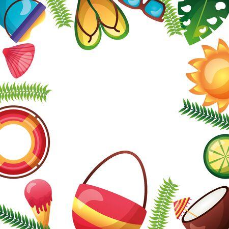 summer time holiday banner sun bag lifebuoy ice cream sandals vector illustration Illustration