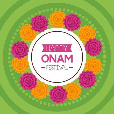 happy onam festival flowers decoration celebration vector illustration