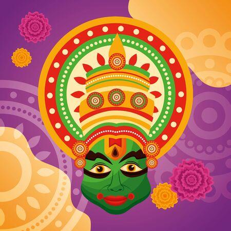 onam festival kathakali flowers background vector illustration