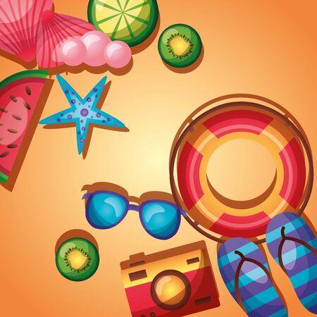 summer time holiday lifebuoy camera sunglasses lemon starfish top view vector illustration Illustration