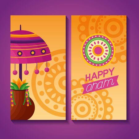 happy onam festival banner lamp flowers celebration vector illustration Иллюстрация