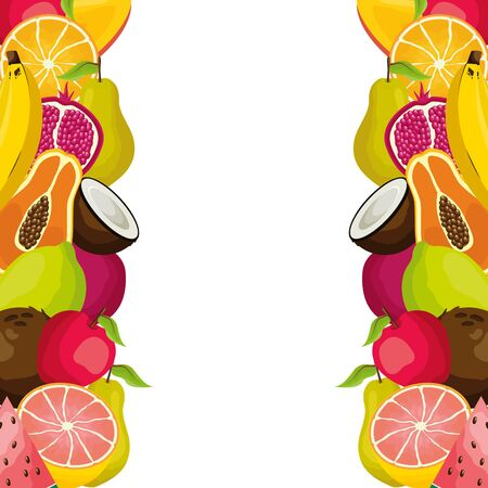tropical fruits coconut papaya grapefruit apple lemon vector illustration
