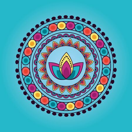mandala floral decoration ethnic flower lotus design blue background vector illustration