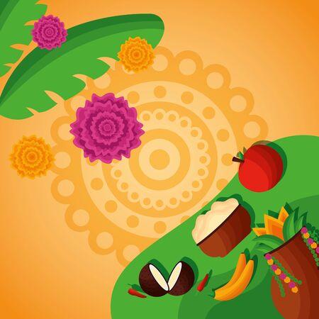 onam festival leaves fruits hindu celebration vector illustration