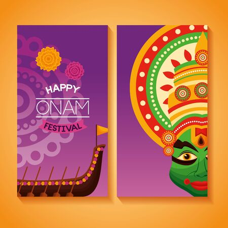 happy onam festival banner kathakali boat race vector illustration 向量圖像