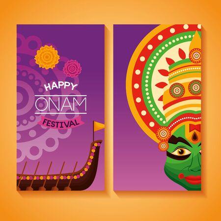 happy onam festival banner kathakali boat race vector illustration Illustration