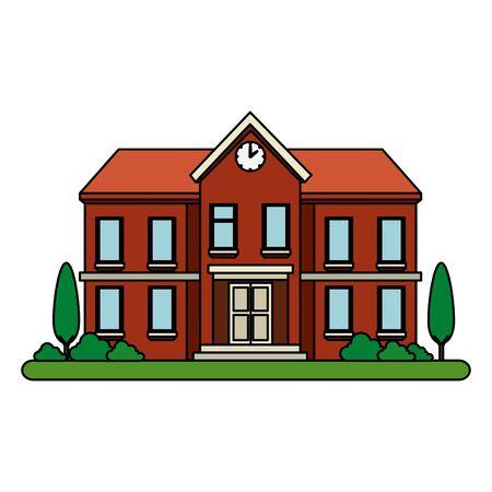 school building facade education icon vector illustration design