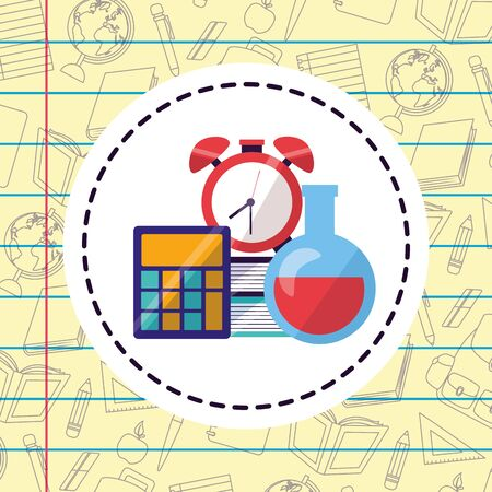 calculator clock test tube sticker sheet background back to school vector illustration