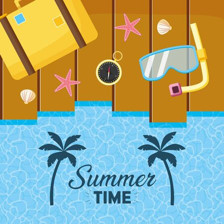summer time holiday beach poster top view snorkel suitcase compass  イラスト・ベクター素材