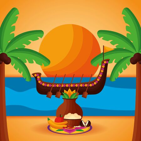 onam festival beach boat race sunny day vector illustration