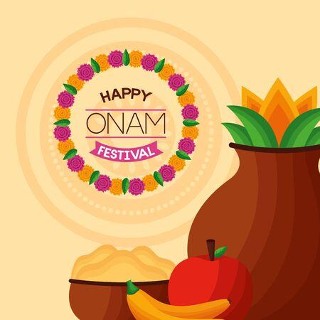 happy onam festival coconut drink fruits vector illustration Иллюстрация