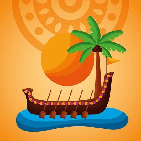 beach boat race palm onam festival vector illustration