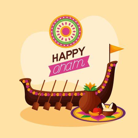 boat race fruits decoration happy onam festival celebration vector illustration