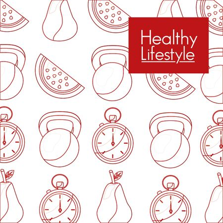 Healthy lifestyle design, Fitness bodybuilding bodycare activity exercise and diet theme Vector illustration 矢量图像