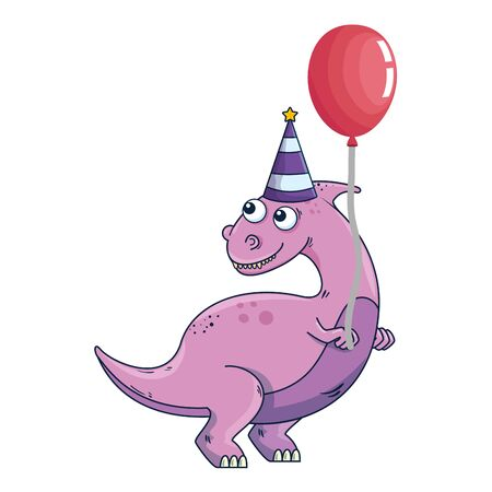 cute dinosaur with balloon helium vector illustration design