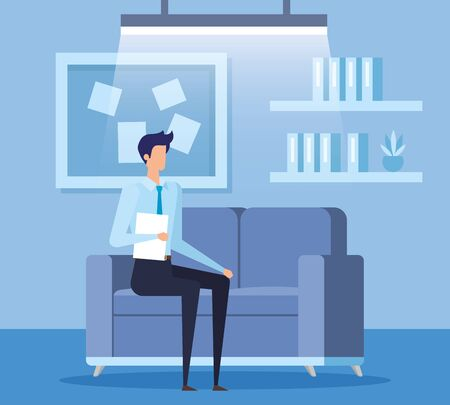elegant businessman worker in the livingroom vector illustration design Illustration