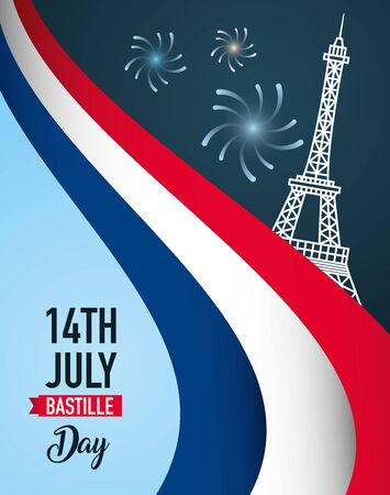 eiffel tower fireworks france happy bastille day vector illustration