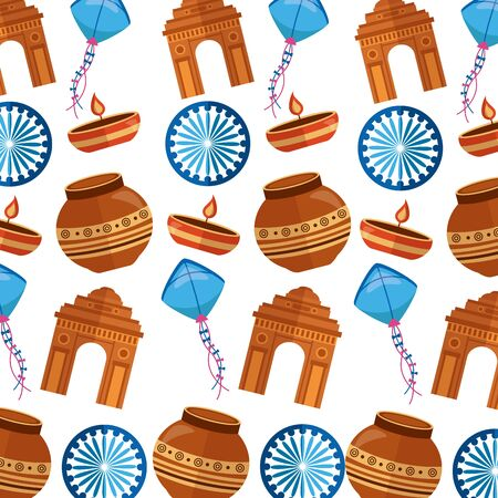 indian gateway and independence day pattern vector illustration design
