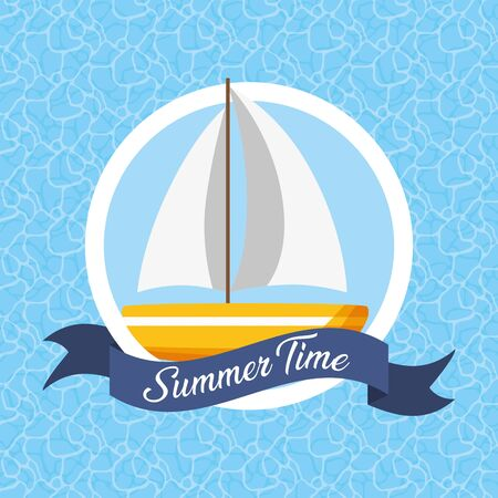 summer time poster sailing boat pool background vector illustration Иллюстрация