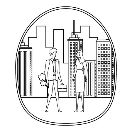 elegant young business couple on the city vector illustration design