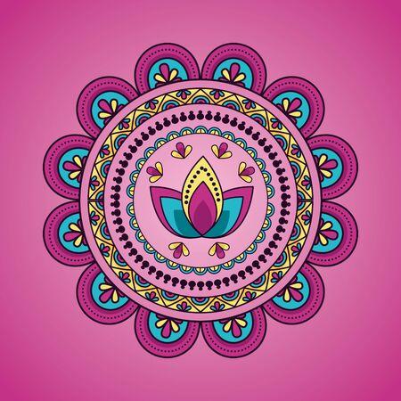 mandala floral decoration ethnic flower lotus design pink background vector illustration