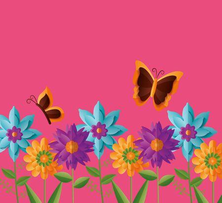 flowers butterflies nature spring vector illustration design Foto de archivo - 130541092