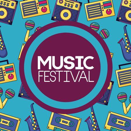 festival music badge cassette saxophone radio amplifier background vector illustration