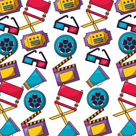 background reel film chair speaker glasses ticket cinema movie vector illustration Çizim