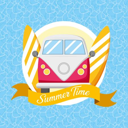 summer time poster van and surfboards pool background vector illustration Stock Vector - 130548691