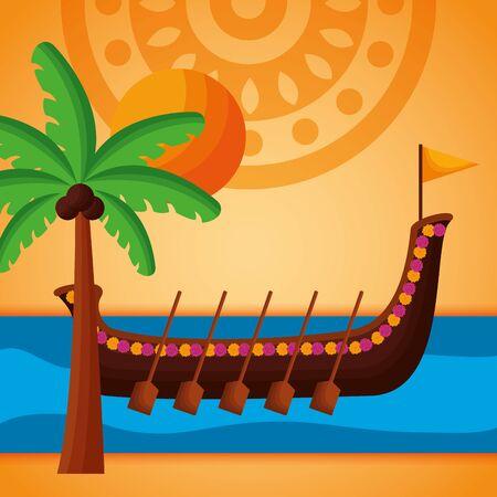 beach boat race sunny day onam festival vector illustration