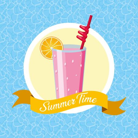 summer time poster cocktail pool background vector illustration Illustration