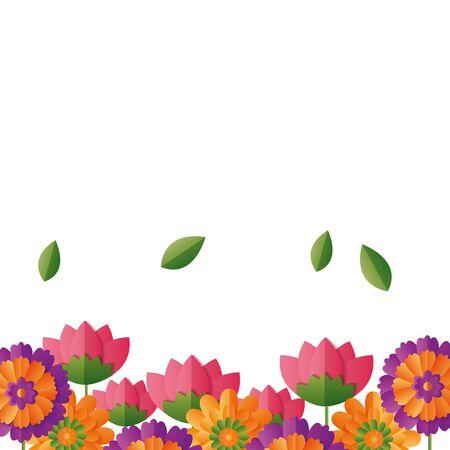 border floral flowers white background vector illustration design