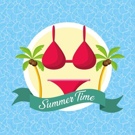 summer time bikini palms pool background vector illustration