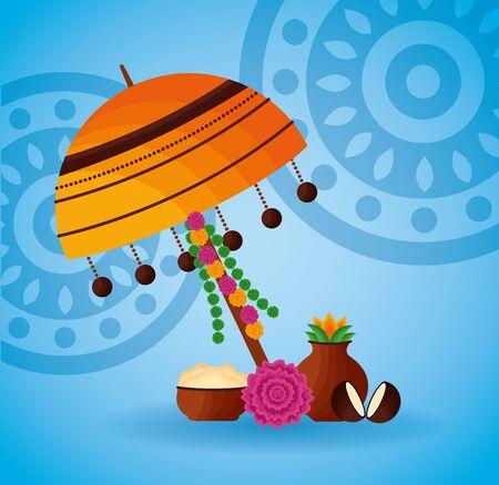 lamp fruits coconut onam festival hindu vector illustration Иллюстрация