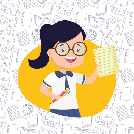 girl with paper and pen back to school vector illustration