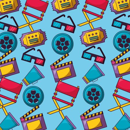 background reel film chair speaker glasses ticket cinema movie vector illustration Illustration