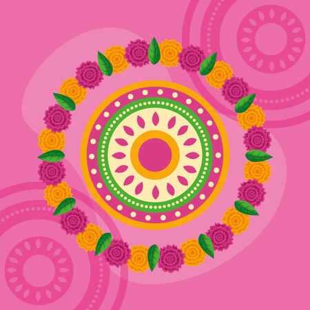 circles flowers decoration pink background vector illustration
