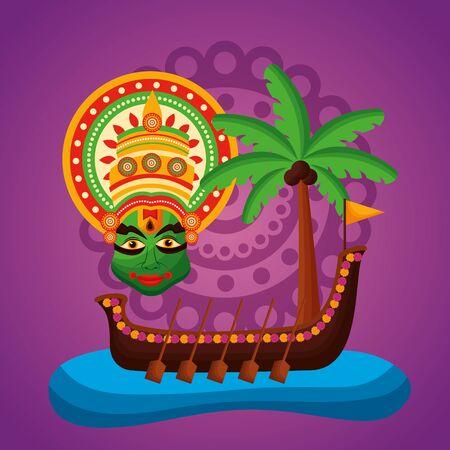 kathakali onam festival boat race vector illustration