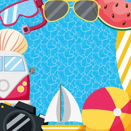 summer time holiday travel vacations poster pool background vector illustration