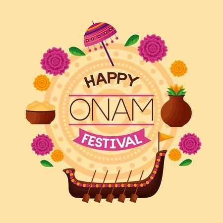 happy onam festival flowers boat race fruits vector illustration Иллюстрация