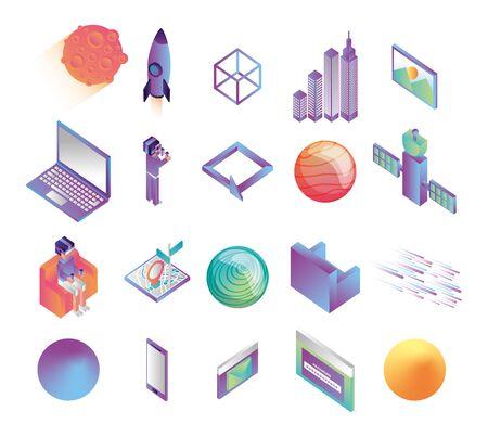 bundle of virtual reality technology icons vector illustration design Illustration
