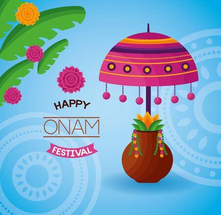 happy onam festival leaves lamp coconut fruit vector illustration Иллюстрация