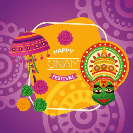 happy onam festival lamp flowers kathakali vector illustration