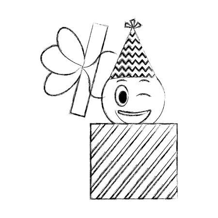 smiley emoticon party hat birthday gift box vector illustration Illustration