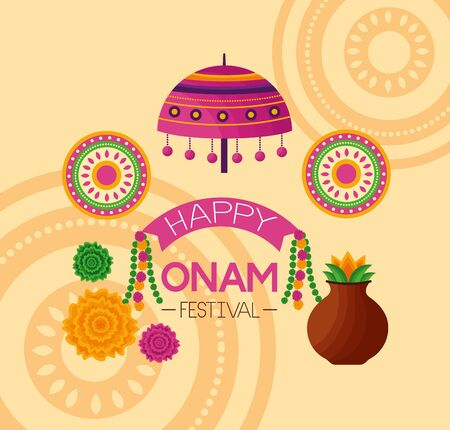 happy onam festival flowers coconut food vector illustration